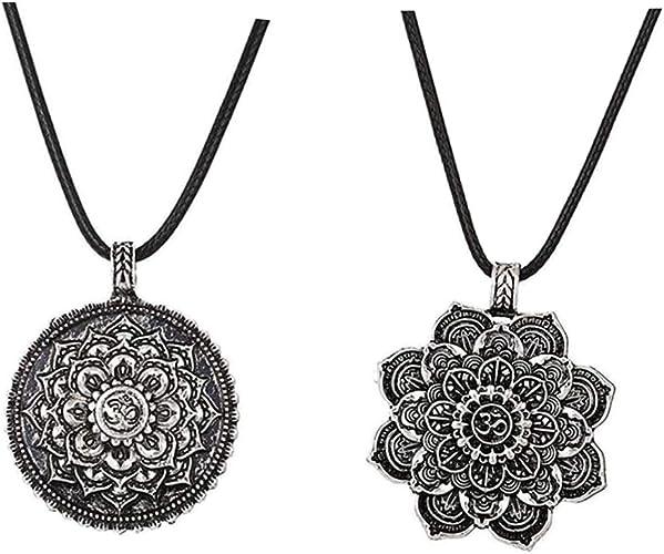 Round Gemstone Yoga Mandala Necklace Pendant for Women Buddhist Protection