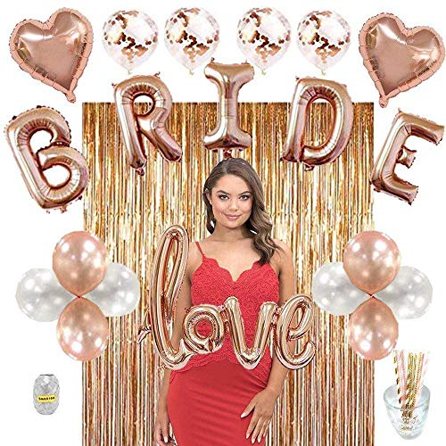Bachelorette Party Decorations kit Rose Gold Bridal Shower Decoration Supplies Includes Fringe Curtain, 14 Balloons Include 2 Heart & 4 Confetti Balloons & Gold Paper Straws,a Complete Decor Set.