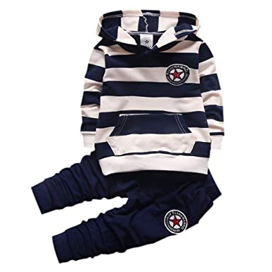 a9bbb2e93c Gyratedream Baby Boy Clothes Set Tracksuits for Girls Striped Hoodie  T-Shirt Long Sleeve Hooded Tops Sweatshirt + Trousers Long Pants 2Pcs  Outfits for ...