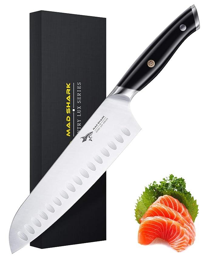 MAD SHARK Cuchillo Santoku Pro Cuchillo de Cocina Cuchillo Santoku de 8 Pulgadas, Cuchillo de Acero Inoxidable de Alto Carbono Alemán de la Mejor ...
