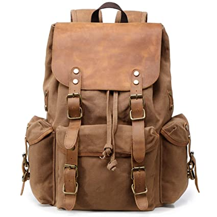e0247b7abb Kemy s Mens Waxed Canvas Backpack Leather Rucksack for Men Wax Leather  Backpacks Travel Vintage Bookbag with