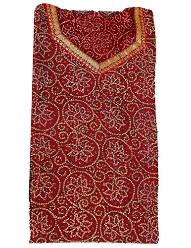 Robe Maroon Red for Women Wear Soirée indienne Coton Tie Dye Imprimer la broderie perlée 44 pouces