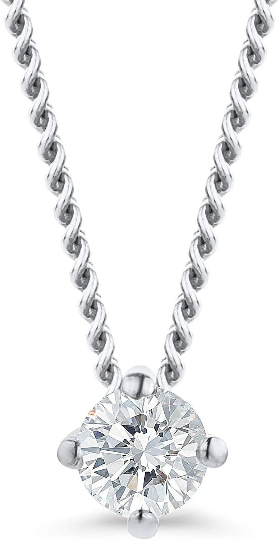 Orovi - Cadena de diamante para mujer de oro blanco, collar con colgante de diamante solitario de 18 quilates (750) y diamantes brillantes de 0,07 ct, 45 cm de largo, hecha a mano en Italia