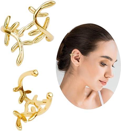 F/êtes Gold Gorgeous Hooping Ear Cuff Non Perc/é Clip on Helix Cartilage Boucle doreille pour Hommes Femmes pour Un Usage Quotidien Geometry Earring Ear Clip Boucles doreilles pour Femmes