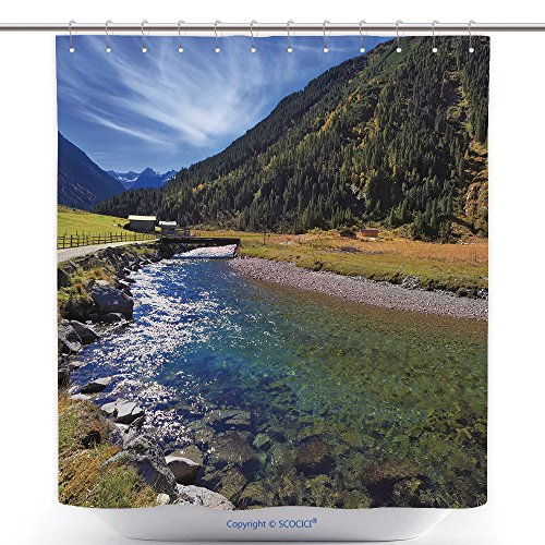 vanfan-Durable Shower Curtains Austrian Alps Starting Famous Krimml Waterfalls Crystal Clear Water Sparkles in The Midday Sun Bath Decorations Bathroom Decor Sets Hooks(36 x 72 inches)