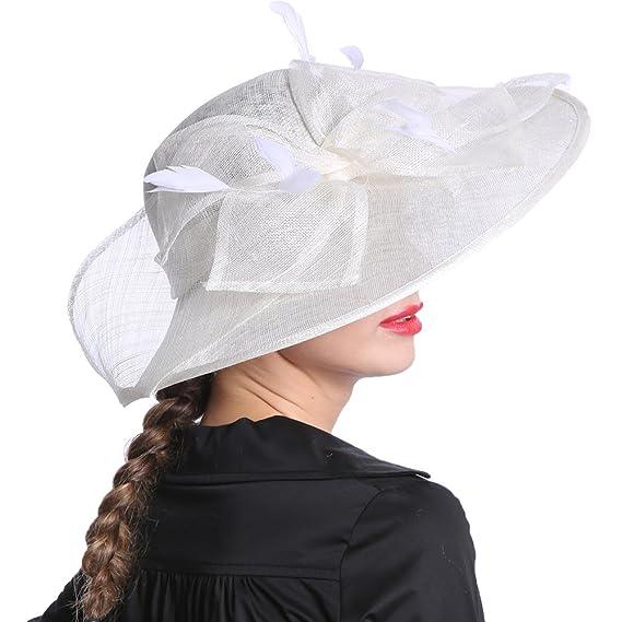 Junes Young Damen Damenhut Brauthut Kopfschmuck mit Feder Haarschmuck F/ür Hochzeit Anlasshut Kopfbedeckung H/übsch Elegant