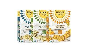 Simple Mills Almond Flour Cracker Variety Pack:, (1) Fine Ground Sea Salt, (1) Farmhouse Cheddar, (1) Rosemary & Sea Salt, 3 count