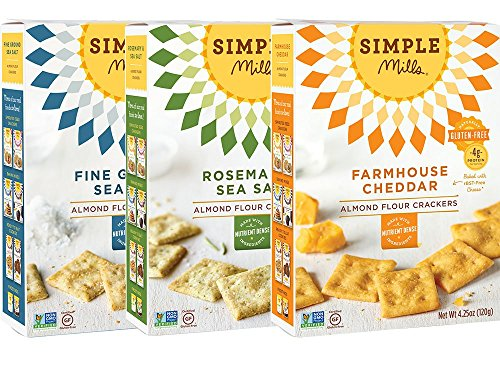 - Simple Mills Almond Flour Cracker Variety Pack:, (1) Fine Ground Sea Salt, (1) Farmhouse Cheddar, (1) Rosemary & Sea Salt, 3 count
