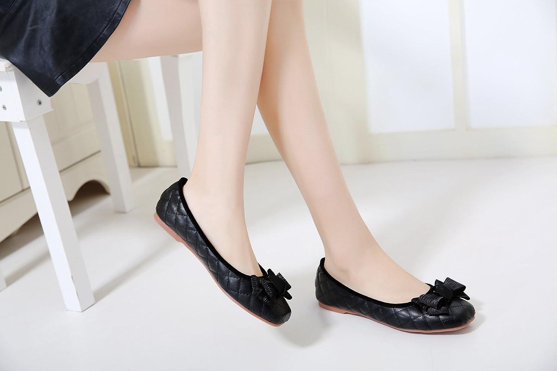 carmonoudi Womens Square Toe Bowknot Ballet Flats Slip On Flat Shoes