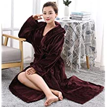 GL&G Autumn And Winter Coral Velvet Men And Women Couple Nightgown Thicker Long Section Flannel Bathrobes Hotel Home Clothing,Wine Red ,XL
