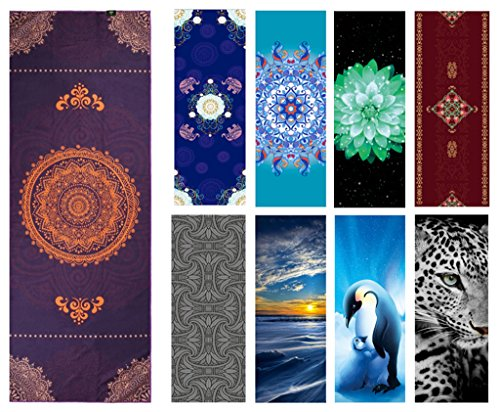 Heathyoga Printed Yoga Towel, Exclusive Corner Pockets Design, Absorbent, Light-weight and Soft..