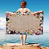 iPrint Vintage Quick Dry Plush Microfiber (Towel+Square scarf+Bath towel) Buttons-Collection-Fabric-Texture-Canvas-Frame-Sewing-Needlecraft-Contemporary-Picture And Adapt to any place