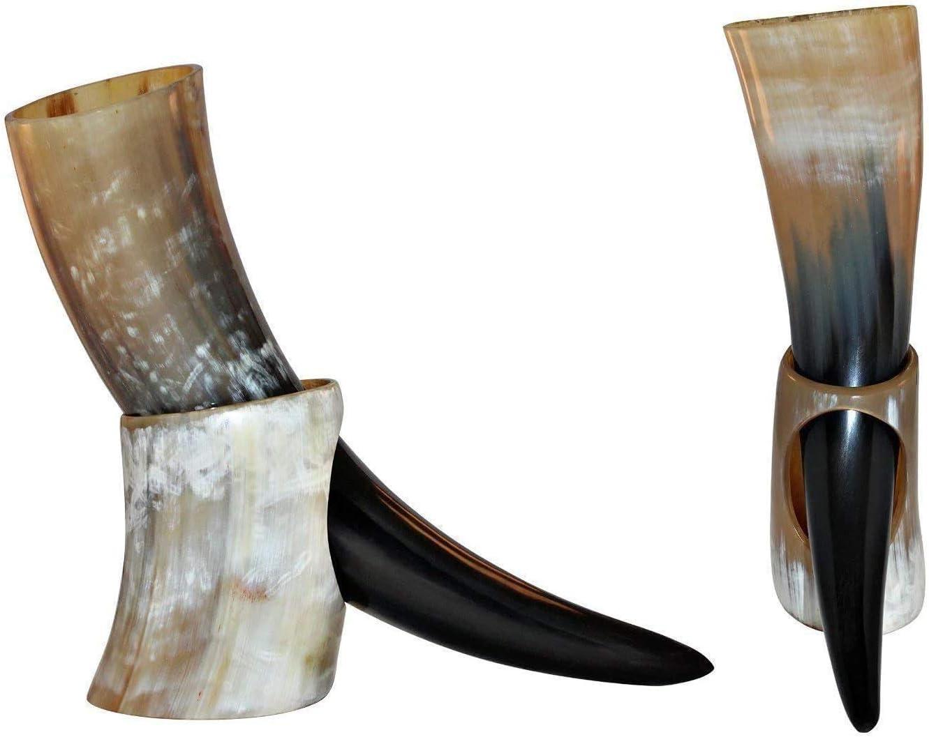 Bhartiya Handicrafts Jarra de bocina de bebida Vikingo estilo Juego de Tronos   Taza vikinga para oso, Ale Auténtico cuerno de buey   14 oz (Cuerno de avión)