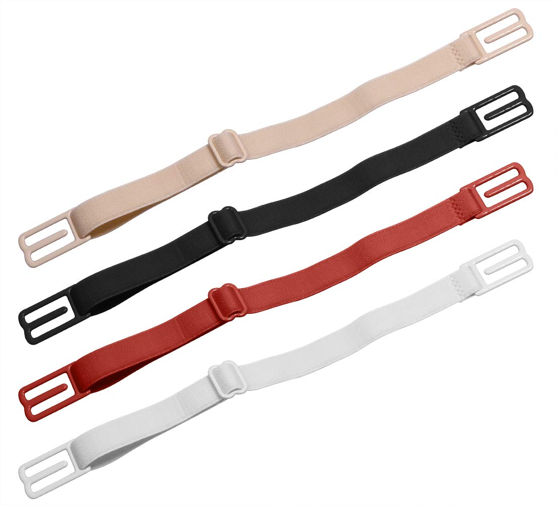 Shapenty 4 Pack Women Girls Non-Slip Elastic Adjustable Bra Strap Clip Holders Underwear Shoulder Strap Concealing Supporter, Black, Beige, White, Red