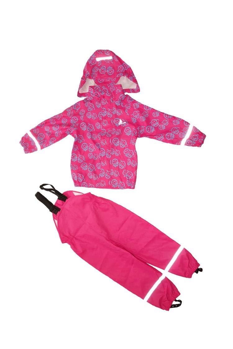 Boys & Girls Kids Raincoat Jacket with Pants Waterproof Reflective Children Hooded Rainwear Set (Cerise/Girls, 122/7year) by Orline-pro