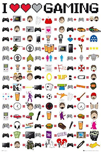 I Love Gaming Video Game Poster 24 x 36in