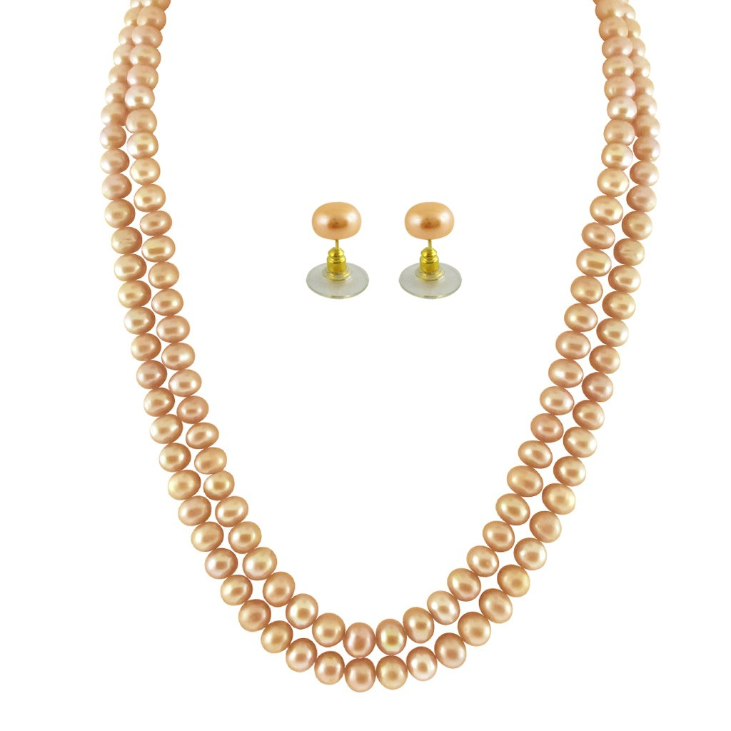 6aeda4e480d36 Sri Jagdamba Pearls Jpearls 2 String Peach Pearl Multistrand Necklace Set  for Women