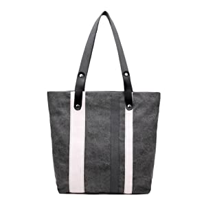 Gillberry Women Canvas Stripe Handbag Shoulder Bag Large Tote Ladies Purse