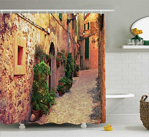 Ambesonne Wanderlust Decor Collection, Ancient Street in Valldemossa Village Mallorca Spain Vintage Door Road Tourism Image, Polyester Fabric Bathroom Shower Curtain Set with Hooks, Green Ivory by Ambesonne