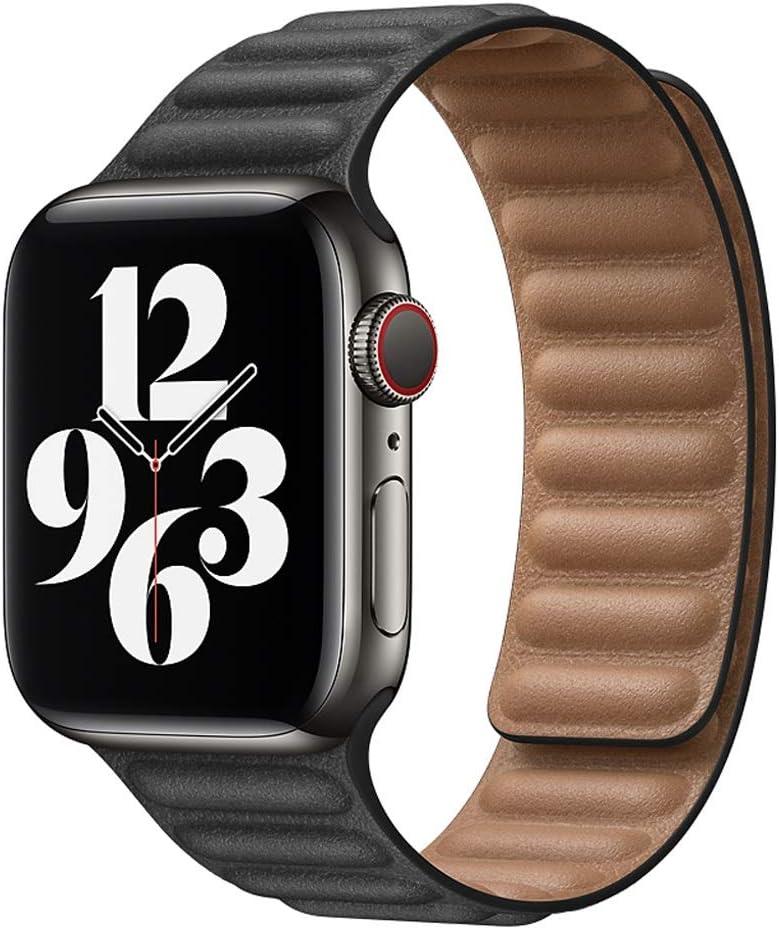 KDYLLT Leather Link for Apple Watch Band 44mm 40mm 38mm 42mm Watch Band Magnetic Loop Bracelet for IWatch Seires 5 4 SE 6 Strap (Band Color : Black, Band Width : 42mm or 44mm)