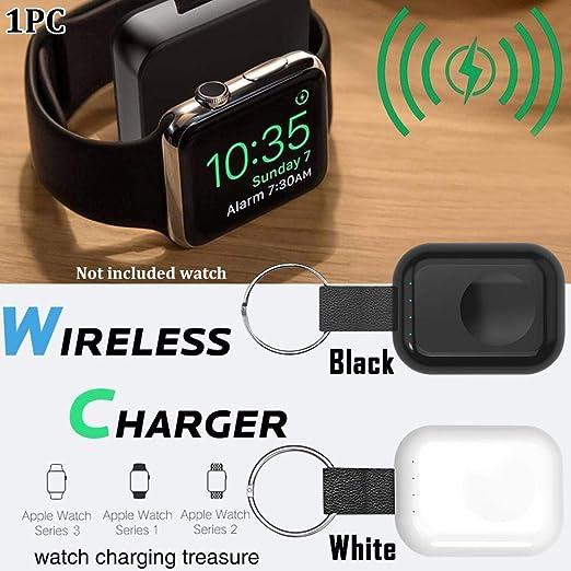 Cargador Inalámbrico para IWatch1 2 3 4, Cargador Portátil para Apple Reloj con Incorporado 700mAh Inalámbrico Batería Externa con Llavero Gancho ...