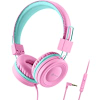 iClever Kids Headphones for Girls - Wired Headphones for Kids with MIC, Volume Control Adjustable Headband, Foldable…