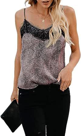 Effeltch Women's Loose Leopard Sleeveless Shirts Breathable Cami CrochetVNeckStrappyLooseCamisoleVestsShirt