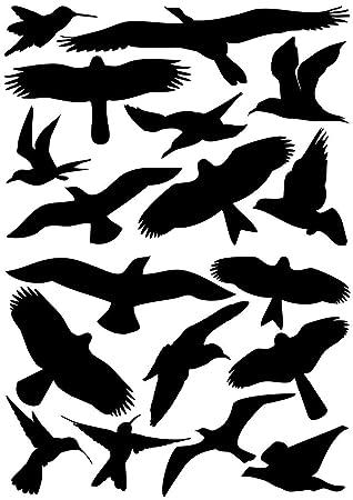 East West Trading Gmbh Vogelaufkleber Für Fenster Wintergärten Glashäuser Zum Vogelschutz Warnvogel Vogel Silhouetten Schutz Vor Vogelschlag