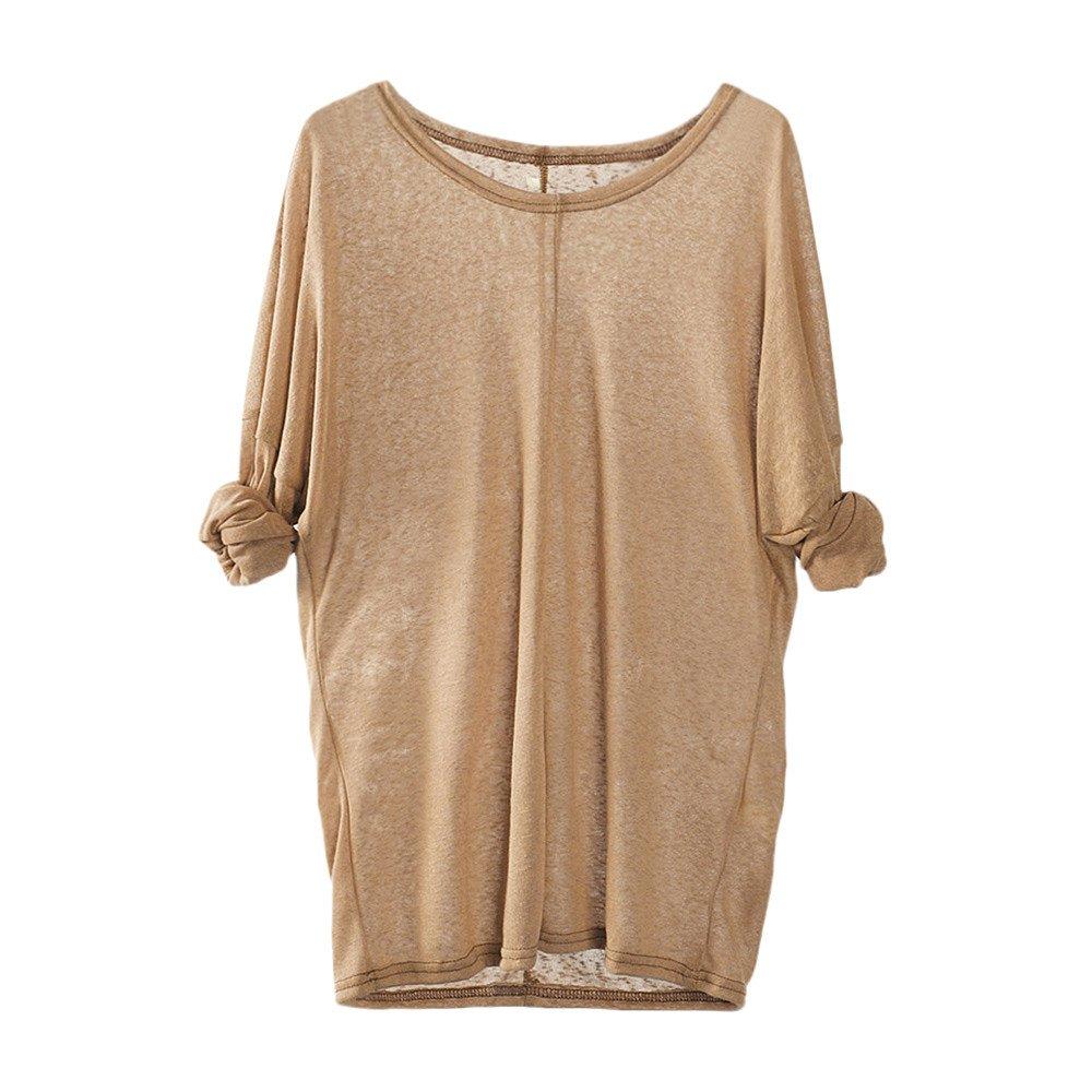 Shusuen Women Lightweight Knitting Sweaters Long Sleeve Loose Casual Blouse Tops Comfort Tunics Khaki by Shusuen_Clothes