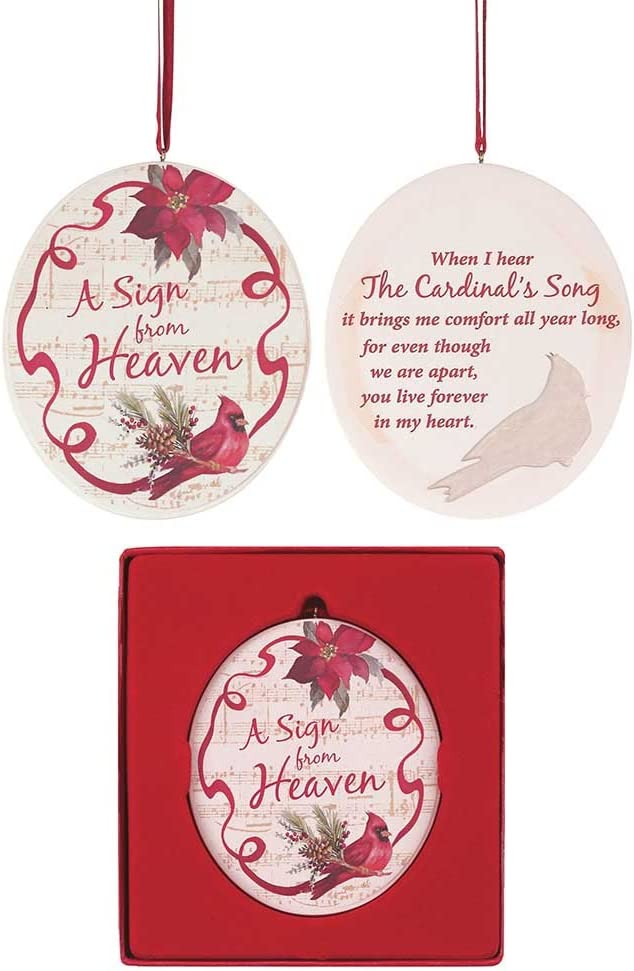 Dicksons A Sign from Heaven Cardinal Cranberry and Cream 3.5 x 3.5 Resin Stone Christmas Ornament