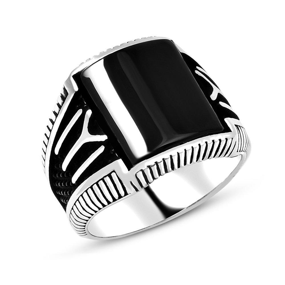 925 Sterling Silver Onyx Stone and Kayı Boyu Designed Ring