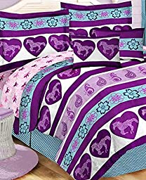 Purple & Blue Girls Pony Horse Full Comforter Set (8 Piece Bed In A Bag)