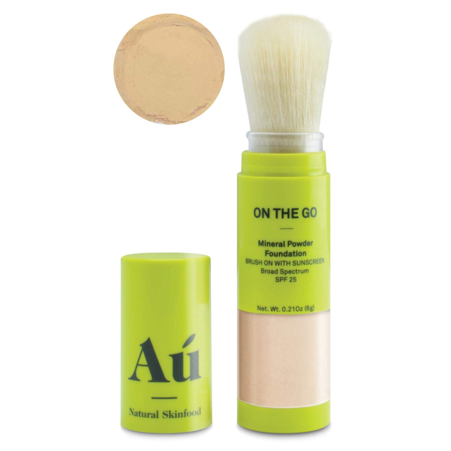 On the Go Mineral Powder Brush-On Sunscreen (Light) by Au Natural Skinfood | Broad Spectrum SPF 25 UVA/UVB Protection | Oil-free; Reef Safe; Translucent Tinted Sun Safety for Men, Women, and Children
