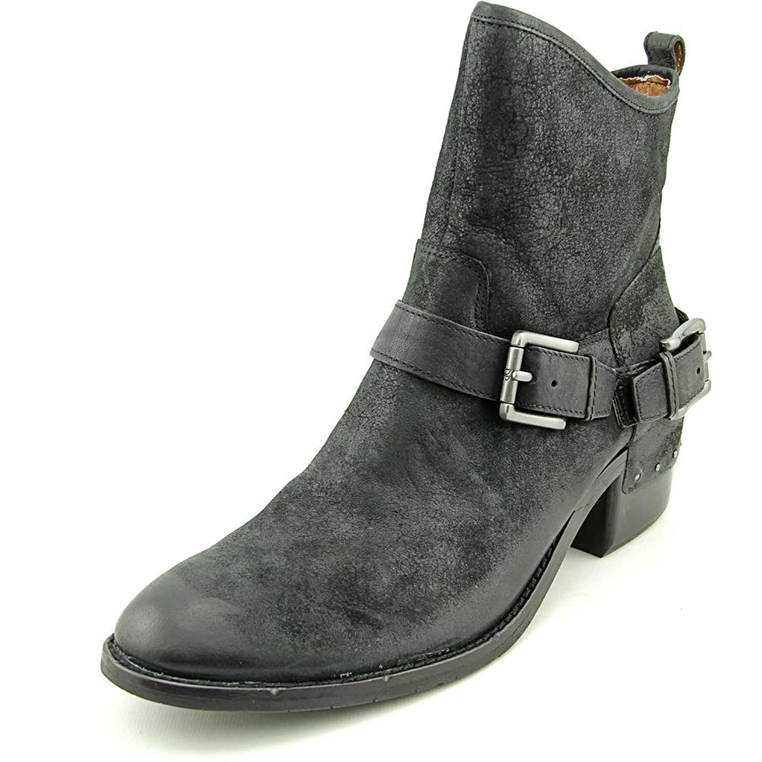 Donald J Pliner Wade Women Round Toe Leather Black Ankle Boot