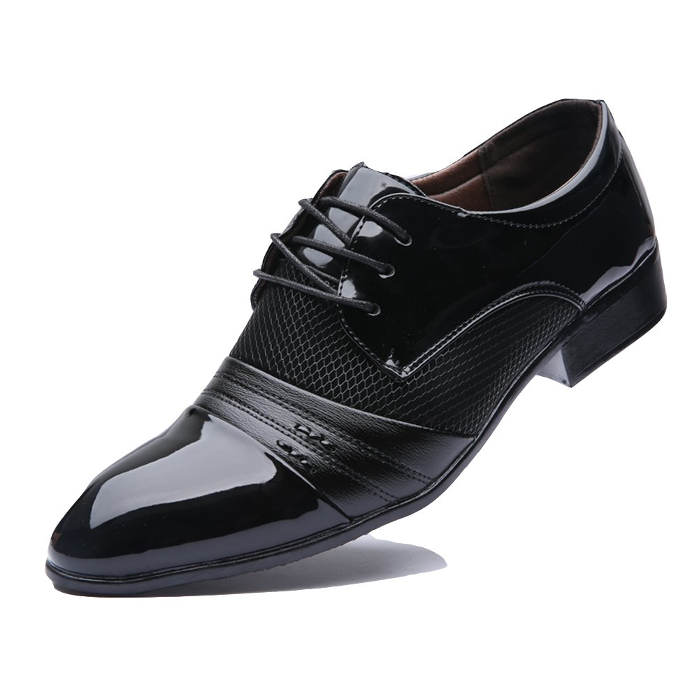 Rainlin Men's Breathable Leather Lined Perforated Dress Oxfords Shoes Black US 11.5