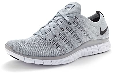 f1d8bcccbcfa Nike Free Flyknit NSW Running Trainers in Wolf   Dark Grey   White 599459  002