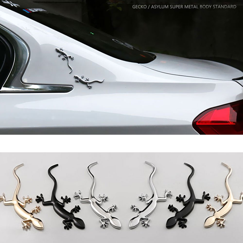 Dsycar 1/Paire 3D en M/étal Gecko Logo de Voiture Badge Embl/ème Autocollant 4/Pcs molet/é avec Style avec Plastique Core Bouchons de Valve pour Voiture Universel Styling Accessoires de D/écoration