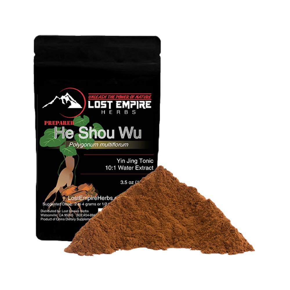 Lost Empire Herbs He Shou Wu Fo Ti – Large 100g Bag of Premium Grade Powdered Extract 10lbs of Roots make 1lbs of Extract potent – Traditionally Prepared from Mature 4-year-old Roots