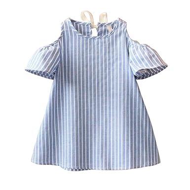 Amlaiworld ❤️Robe de Filles Bébé Filles Robe Princesse Manches Courtes Robes  Rayées Enfants Vêtements Fille de8f28c00b1