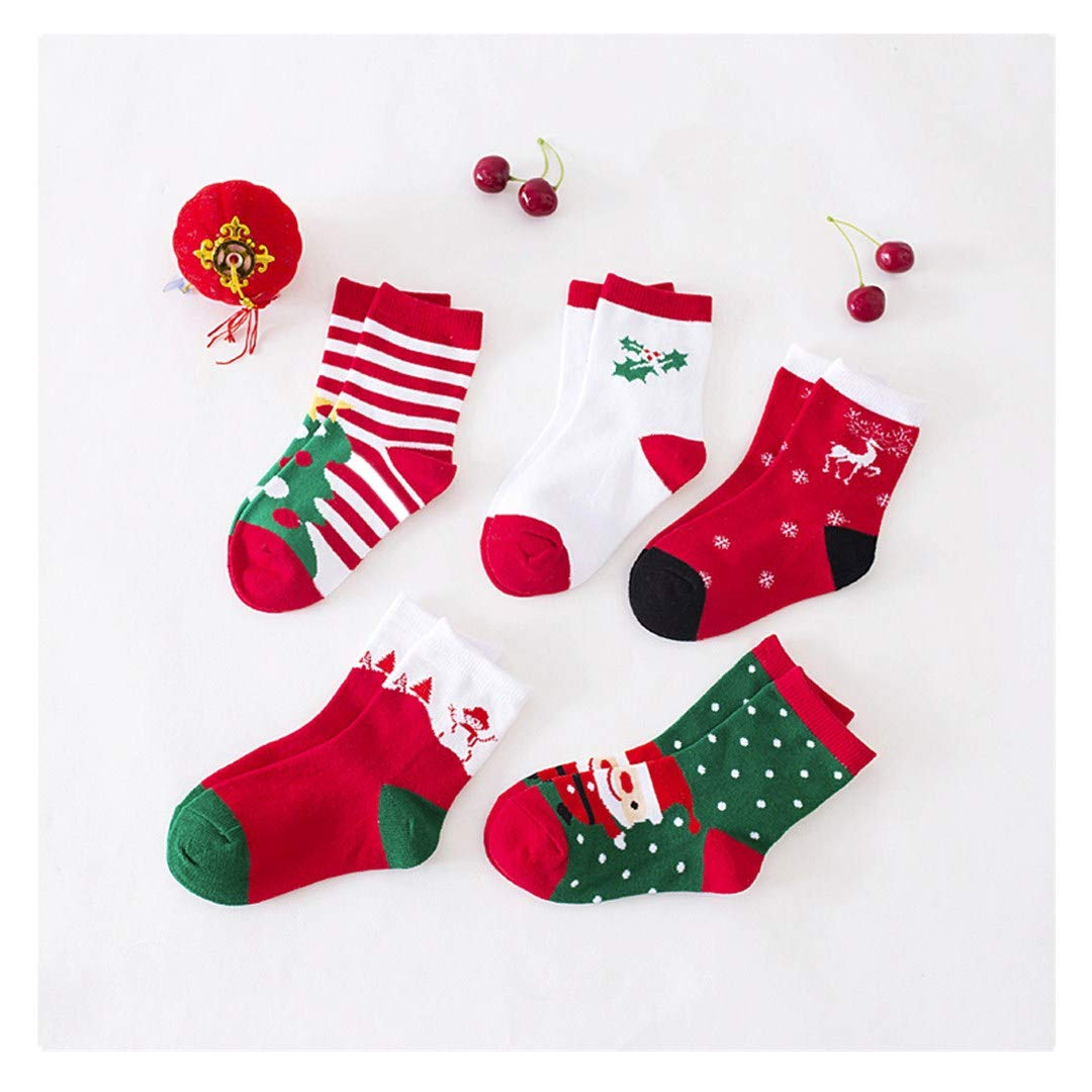 5 Pair Kids Cotton Socks, Pollyhb Cute Christmas Socks For Baby, Girls, Boys, Toddler