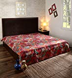 Handcrafted Luxury's Multicolor Paisley Print King Size Kantha Quilt , Kantha Blanket, Bed Cover, King Kantha bedspread, Bohemian Bedding Kantha Size 90 Inch x 108 Inch