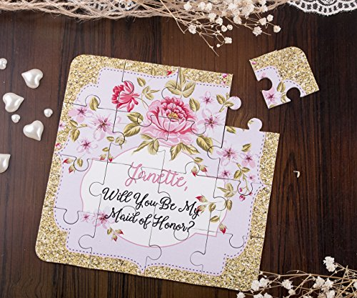 Vintage Bridesmaid Gift Puzzle Invitation Will You Be My Bridesmaid, Maid of Honor Proposal, Asking Flower Girl jigsaw puzzle