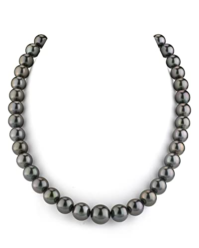 THE PEARL SOURCE 14K Gold AAAA Quality GLA Certified Round Genuine Black Tahitian South Sea Cultured Pearl Necklace in 17 Princess Length for Women