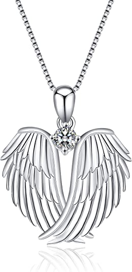 YFN 925 Sterling Silver Guardian Angel Wings Pendant Necklace Jewelry for Women Christmas Gifts (wings pendant necklace)