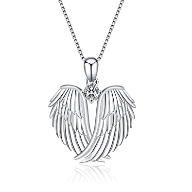 Guardian Angel Wings Black /& Clear CZ 925 Sterling Silver Pendant Necklace