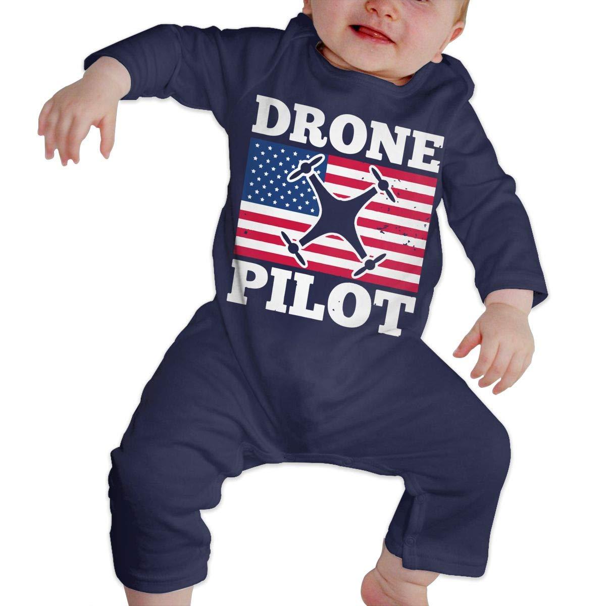 Drone Pilot Patriotic US American Flag Newborn Baby Girl Infant Sleep and Play Pajamas Sleeper