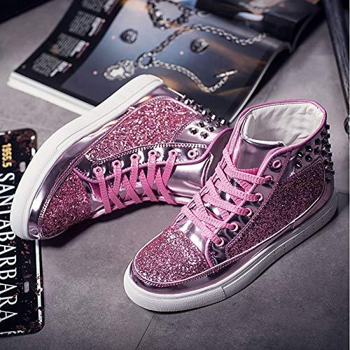 Punta Rosa Negro Zapatos Plano otoño Redonda Cordones tacón Black de Zapatillas Caucho Primavera ZHZNVX Mujer Oro con Comfort qvppg