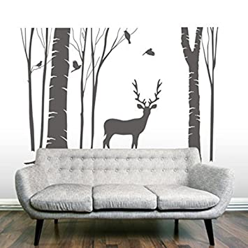 Amazon.com: Higoss Birch Tree Vinyl Wall Decal Reindeer Wall Art ...