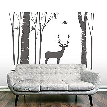 Amazon.com: Higoss Birch Tree Vinyl Wall Decal Reindeer Home Wall ...