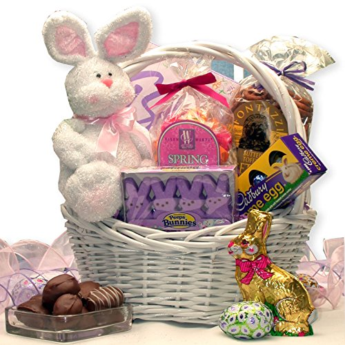 Easter Elegance -Easter Basket with Chenelle Plush Bunny, Truffles, and Easter Candy ()
